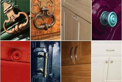 Diferentes tipos de puxadores de armários, portas e gavetas.